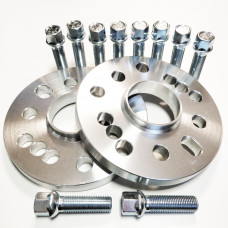 15 mm 2x Flanči, (PCD 4x100, 5x100, 5x112, CB 57.1) un 10 skrūves Audi, VW, Škoda, BMW E30