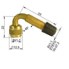 Ventīļpagarinātājs metāla  (līkums45°)